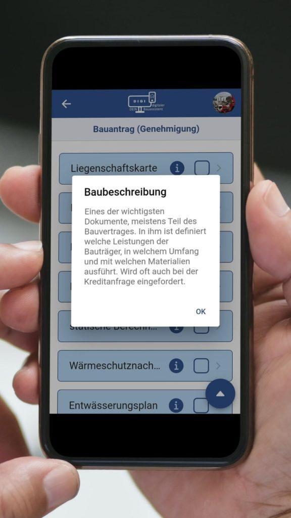 DIGI Screen Checkliste Bauantrag Bauzeichnung